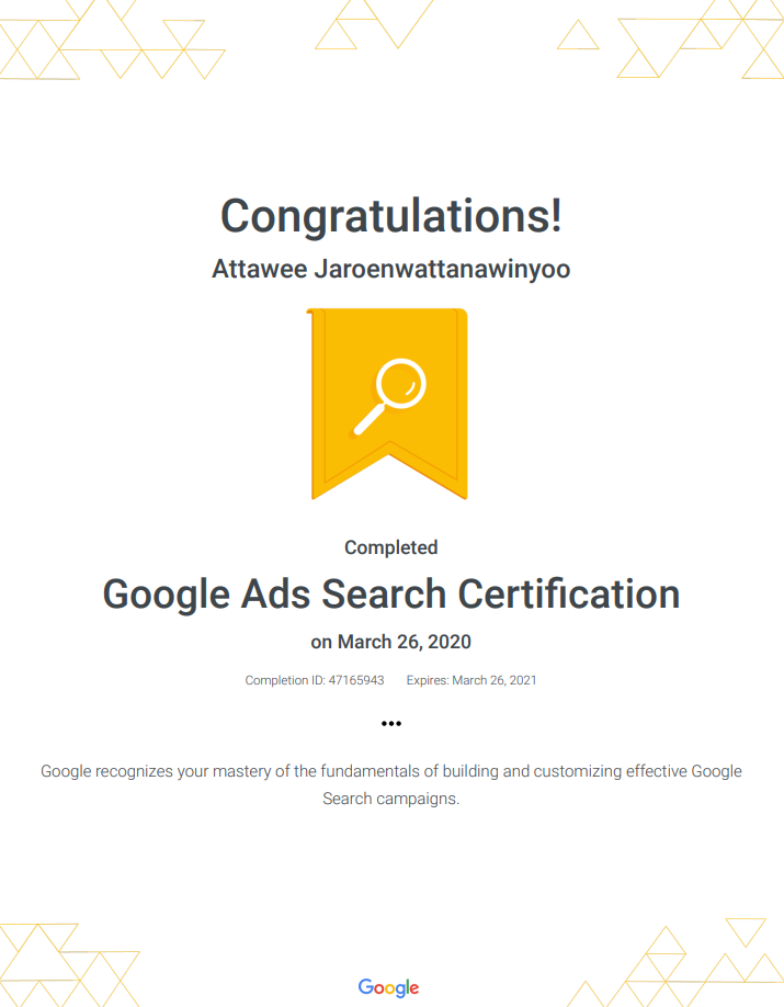 Attawee's Google Ads Search Certification