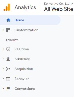 เมนูหลักของ Google Analytics