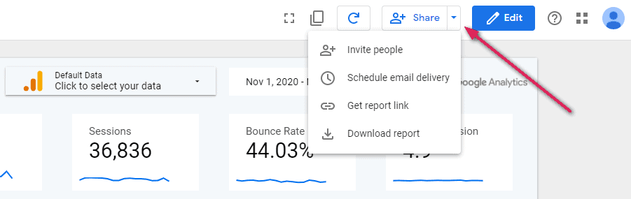 ปุ่มแชร์ใน Google Data Studio