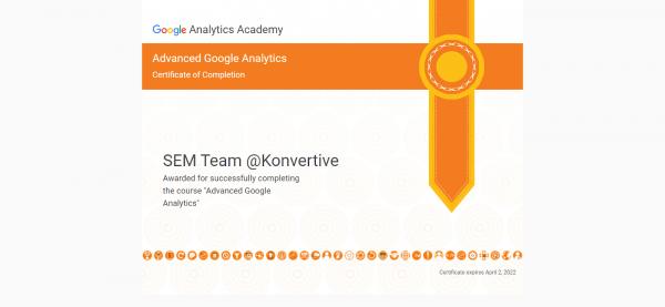 Advanced Google Analytics Certificate