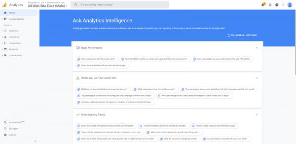 Google Analytics Ask Analytics Intelligence