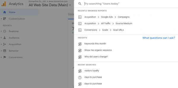 คุณสามารถพิมพ์คำถามในช่องค้นหาใน GA เพื่อให้ทางระบบทำการหาคำตอบให้คุณได้ด้วยนะครับ