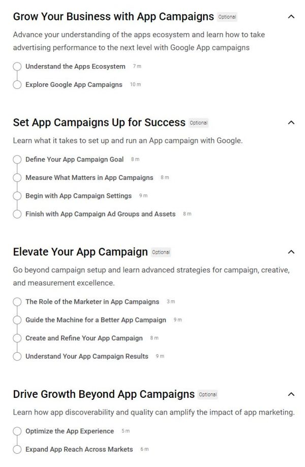 Google App Ads Certification Outlines