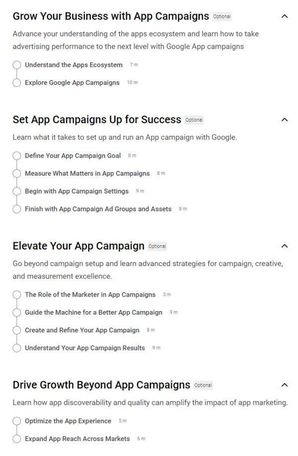 Google App Ads Certification Outlines