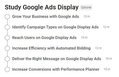 Google Display Ads Certification Outlines
