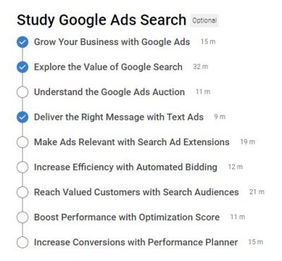 Google Search Ads Certification Outlines