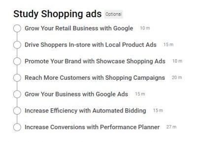 Google Shopping Ads Certification Outlines