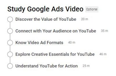 Google Video Ads Certification Outlines