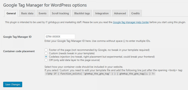 Google Tag Manager for WordPress Plugin