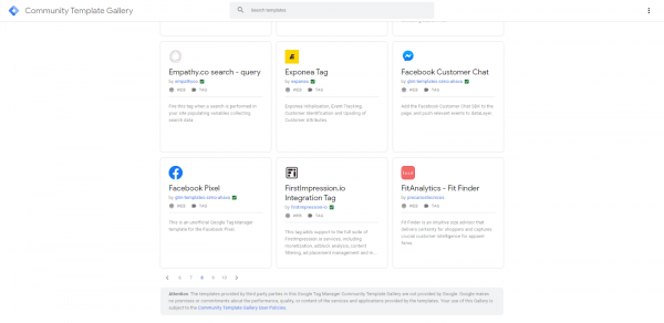 Google Tag Manager Template Gallery