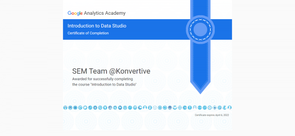 Introduction to Data Studio Certificate