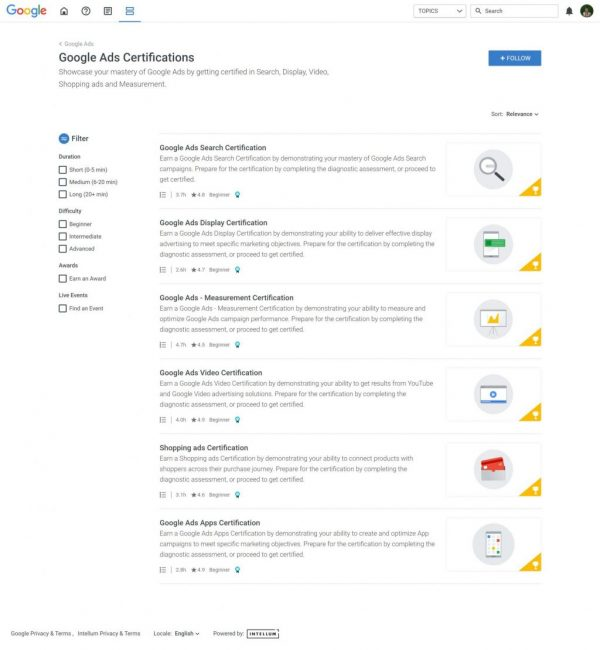 Skillshop - Google Ads Certification